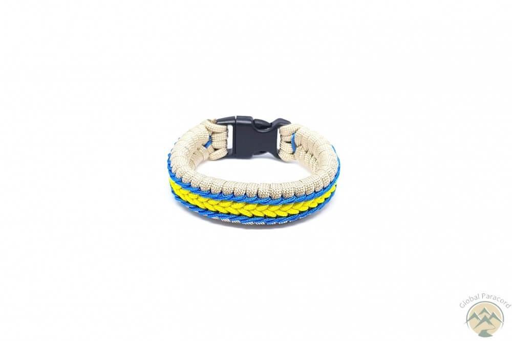 bratara paracord alba cu sir albastru cu galben