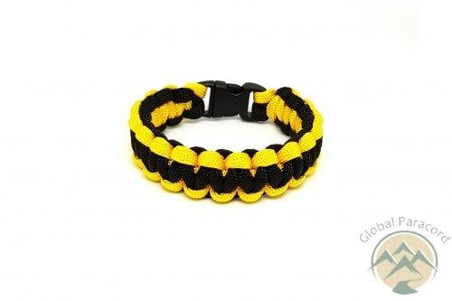 bratara paracord in culori galben negru